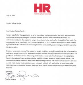 NE violations letter
